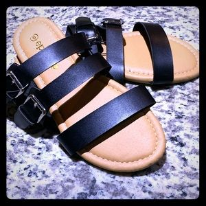 Strappy Faux Leather Slip-on Sandals
